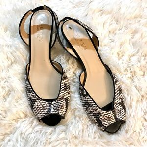 💫Talbots | Open Toe Snake Skin Sling Back Sandals